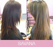 Avant-après extensions cheveux de Savana