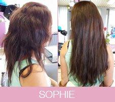 Avant-après extensions de cheveux bruns courts
