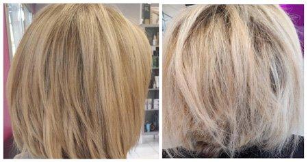 Avant-après appareil coupe fourches : cheveux abîmés réparés