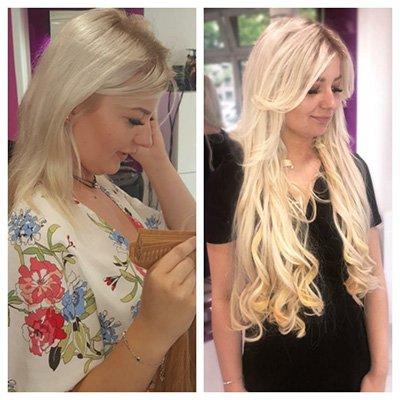 Avant-après extensions de cheveux à Lyon Coiffure Christèle